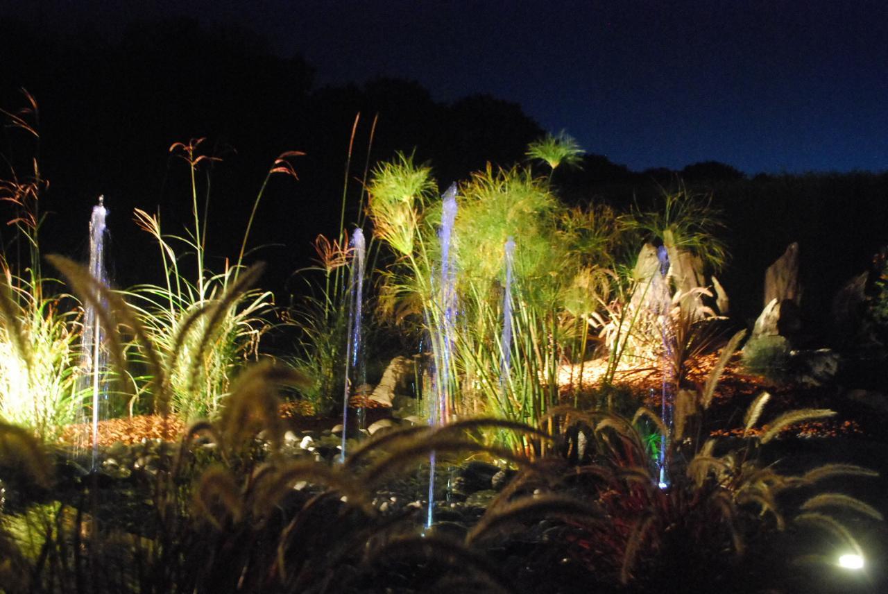 Eclairage, jardin bassin et fontaine