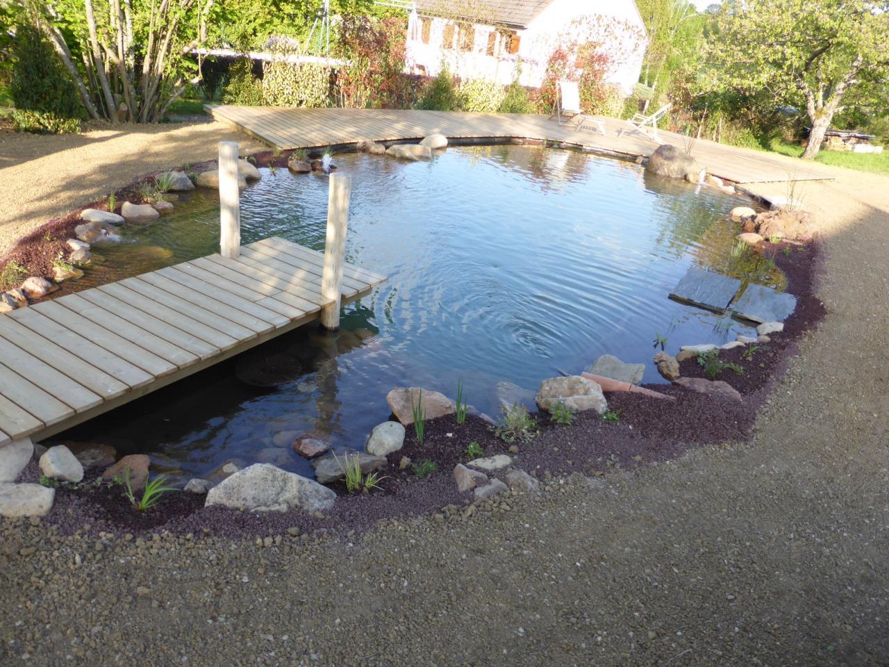 Bassin de baignade et terrasse bois