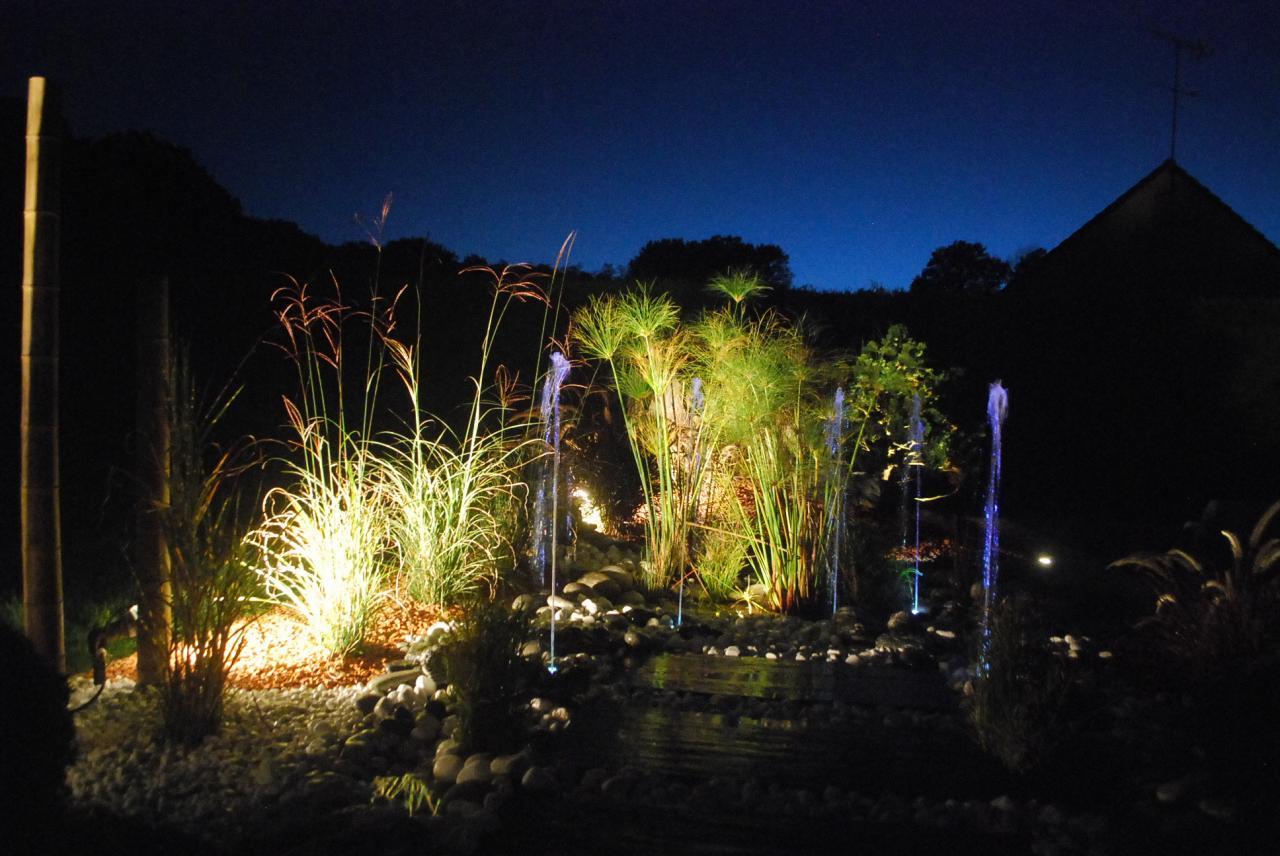 éclairage de jardin, bassin et fontaine