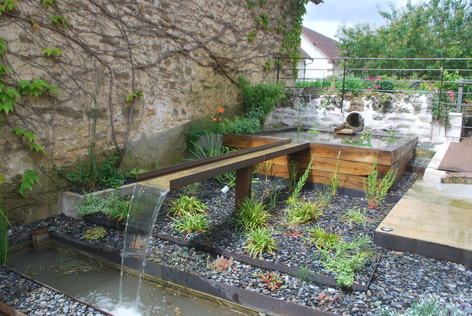 eau jardin, paysagiste à pourrain et auxerre, création de bassins